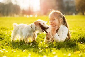 Little girl playing with her puppy dog in the park